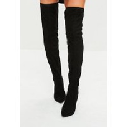 Black Cone Heeled Thigh High Boots, Black