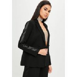 Carli Bybel x Missguided Black Tuxedo Blazer, Black