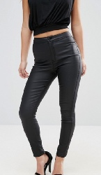 Missguided Petite - Vice - Jean skinny taille haute enduit