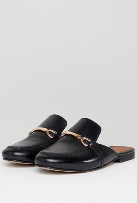 ASOS DESIGN - Movie - Mocassins pointure large en cuir style mules