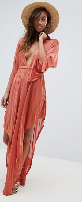 ASOS DESIGN slinky glam long sleeve plunge beach dress