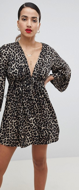 ASOS DESIGN smock playsuit with tie waist in Animal Print