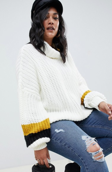 Missguided Plus chunky roll neck jumper in white