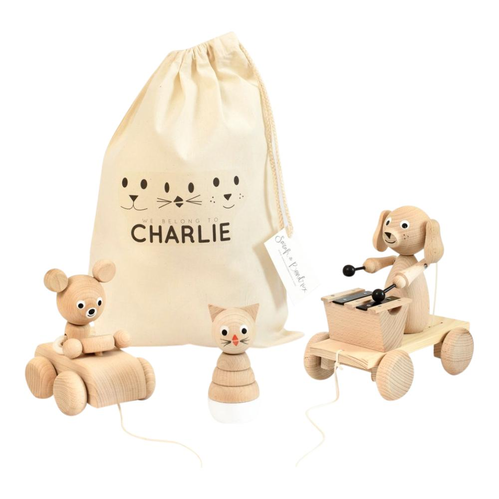 Personalised Toy Bag Bundle - 3 toys