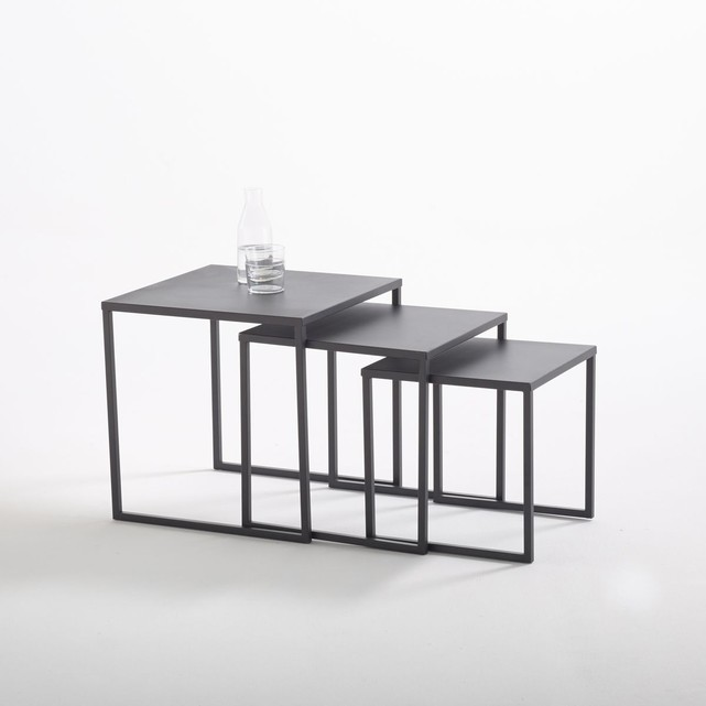 Tables basses gigognes en acier (lot de 3), Hiba