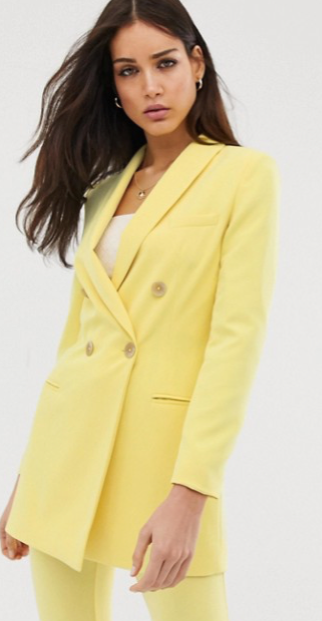 Stradivarius - Blazer long d'ensemble - Jaune