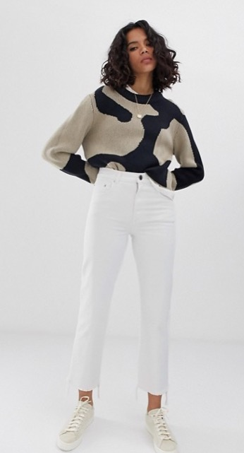ASOS DESIGN - Florence - Jean droit authentique - Blanc craie